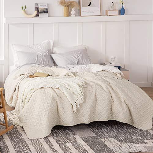 BEDSURE Tagesdecke 200x220 beige Schlafzimmer- Bettüberwurf 200 x 220 cm für Bett, Wohndecke aus Mikrofaser mit Ultraschall genäht, als Steppdecke Sommer Komfort und Weich