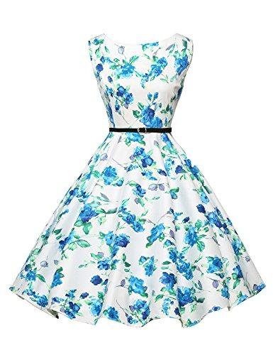 Abito da sposa partito dei vestiti Hepburn stile pannello esterno pieno delle donne Floral-23