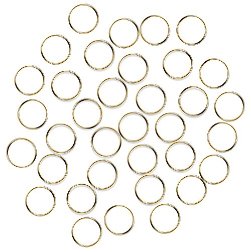 Fushing 100Pcs Stainless Gold Color Split Rings, Crystal Chandeliers Connectors for Chandelier, Curtain,Suncatchers, Crystal Garland,Necklaces, Keys, Earrings, Jewelry Making (Gold, 12mm)