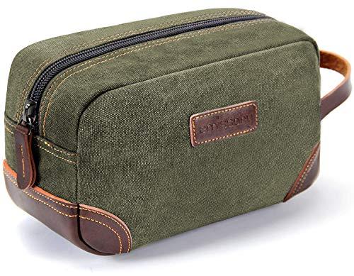 emissary Men's Toiletry Bag Leather and Canvas Travel Toiletry Bag Dopp Kit for Men Shaving Bag for Travel Accessories (Dark Green)