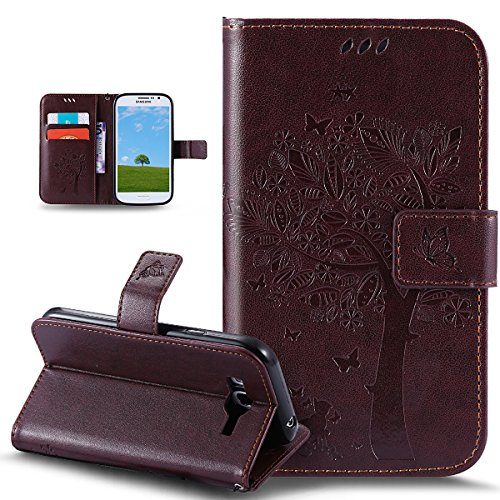 Coque Galaxy Grand Neo,Coque Galaxy Grand Neo Plusikasus® Coque Bookstyle Étui Housse en Cuir Case, Motif Gaufrage Chat papillon Fleur Floral forme arbre Motif Etui Housse Cuir PU Portefeuille Folio Flip Case Cover Wallet Coque Protection Étui avec Flex Soft Silicone TPU et Fonction Support Fermeture Aimantée Carte de crédit Logement Poches Case Coque Housse Étui pour Samsung Galaxy Grand Plus / Grand Neo / Grand Lite GT-I9060I i9060 i9062 i9082 - Marron