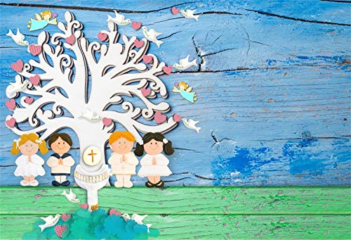 Cassisy 2,2x1,5m Vinilo Bautismo Telon de Fondo Primera Comunión Bautizo Dios Bendiga Santo Grial Tabla de Madera Fondos para Fotografia Baby Shower Photo Studio Props Photo Booth