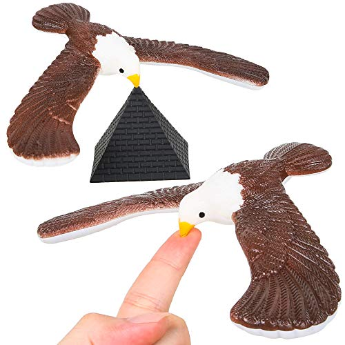PROLOSO 2 Pcs Balancing Bird Balance Eagle Wingspan with Pyramid Stands