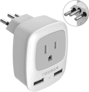 Brazil Power Adapter Travel Plug - TESSAN 3 in 1 USA Outlet Adapter with 2 USB Charging Ports + US Grounded Input for USA to Brazil (Type N)