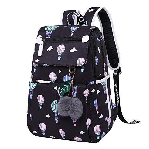 School Backpacks School Bags for Teens Rucksack Teenage Girl High School Backpacks for College Day Backpack Secondary School Bags Large Daypack with USB Laptop Travel Notebook Casual Balloon Black