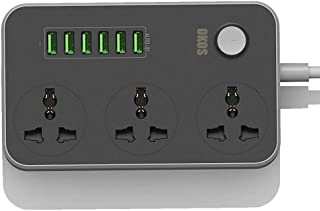 OKOS Surge Protector Power Strip Extension Cord (3 Socket + 6 USB 3.4A)