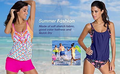 Aleumdr Womens Fashion Beach Cirss Cross Back Layered-Style Striped Tankini Swimsuits with Swim Bottoms Blue Black Small