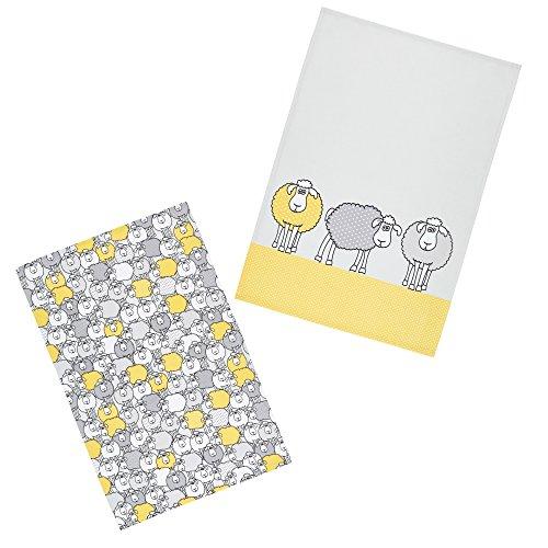 Kitchen Craft Sheep Tea Towels Stampa, Cotone, Giallo (Yellow/Grey), 46 x 0.1 x 69.5 cm, 2 Set