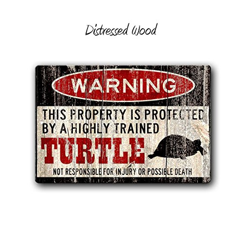 Turtle Warning Sign, Turtle Gift, Turtle cage accessories, Turtle lover gift, Turtle Home Decor, 12 x 8 inch Aluminum Warning Sign