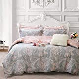 Brandream Blush Pink Bedding Sets Queen Size 100% Cotton Girls Damask Flower Bedding Duvet Cover Set Reversible 3-Piece(Comforter not Included)