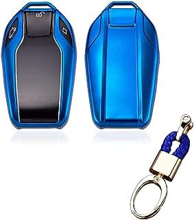Royalfox(TM) Soft TPU Smart Display LCD Remote Key Fob case Cover for BMW 5 Series(2018) 528Li 530Li 540Li,BMW 2016 2017 2018 7 Series G11 G12 (Blue)