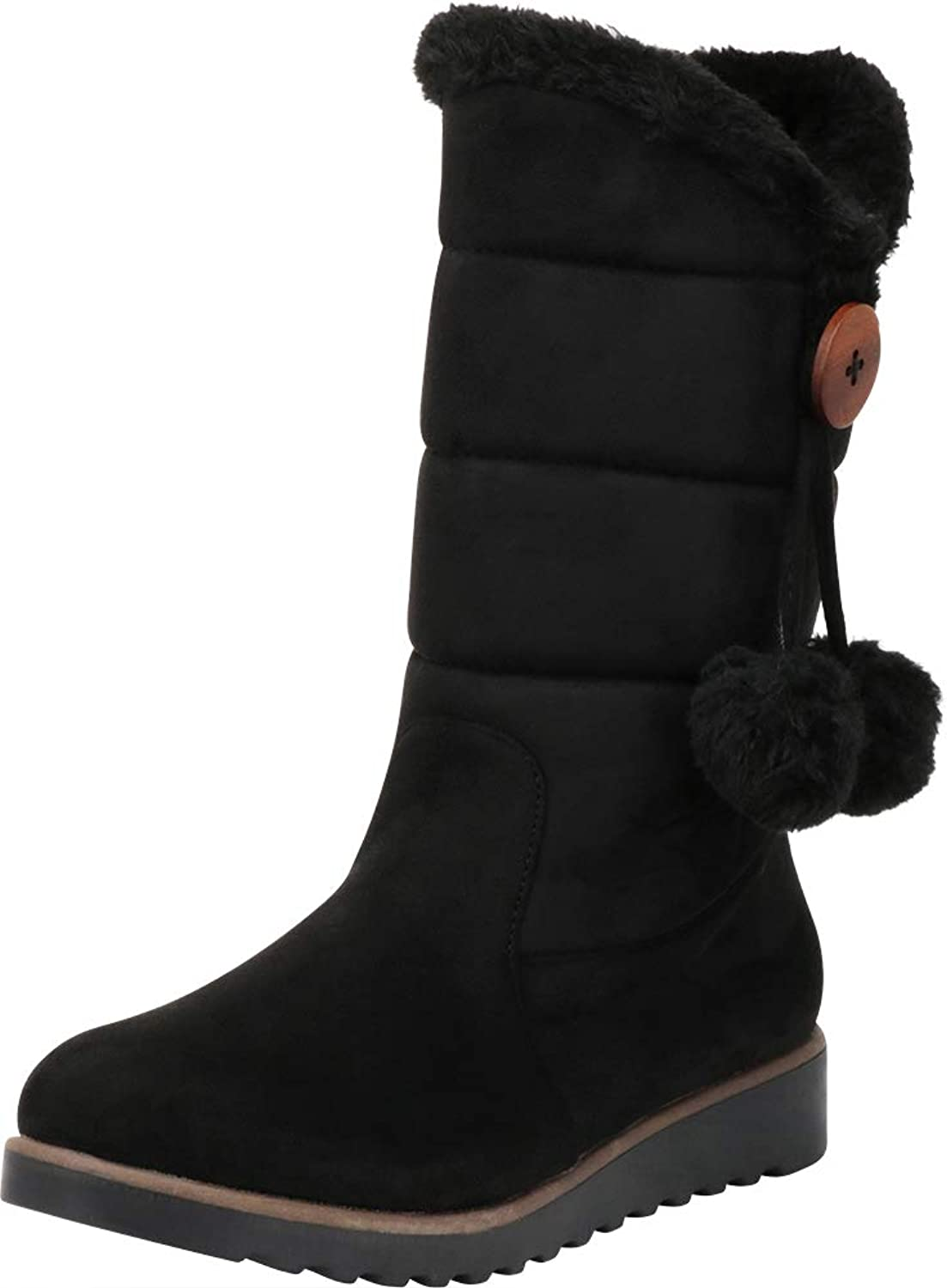 Cambridge Select Women's Faux Fur Pom Pom Quilted Mid-Calf Boot