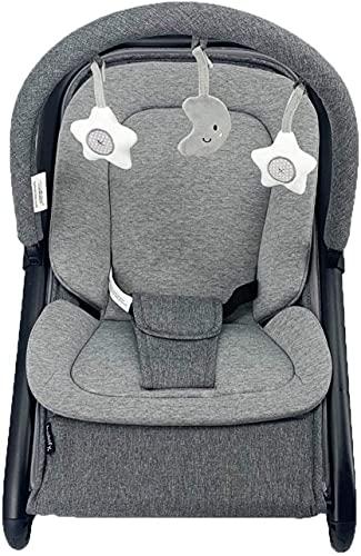 Babify Hamaca de Bebé Baby Swing - Ajustable en balanceo/fija - Barra de Juguetes - Plegado Compacto - Reductor Incluido - Color Gris