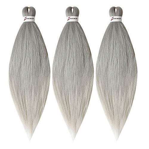 YUKAYULA 3Packs/Lot 26'' Pre-Stretched Hot Water Setting Braiding Hair Extensions Yaki Texture Synthetic Ombre Jumbo braids hair For Women (Grey)