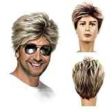 Baruisi 80s Mens Wig Blonde Short George Wig Synthetic Cosplay Costume Halloween Wig for Fancy Dress