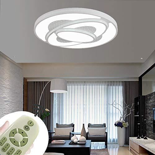 60W Lámpara de techo LED Regulable Plafon Techo Led Redondo Iluminación interior para Dormitorio Comedor Cocina Balcón Marco de Concha Blanco [Clase de eficiencia energética A++]