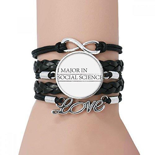 DIYthinker Damen I Major In Social Science Armband Love Black Twisted-Leder-Seil-Armband