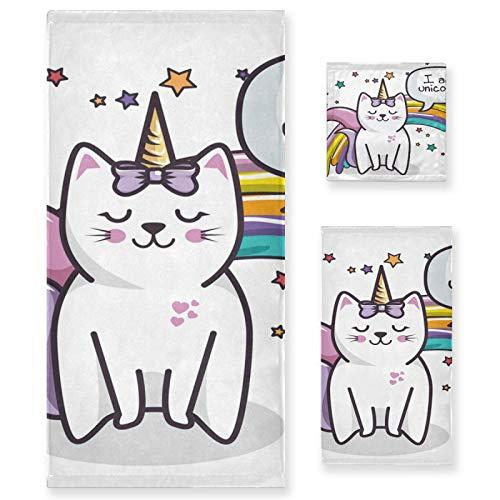 Juego de 3 Toallas de algodón de Lujo para baño para Mujeres, Hombres, baño, Cocina, 1 Toalla de baño, 1 Toalla de Mano, 1 toallitas, Divertido Animal Gato Unicornio
