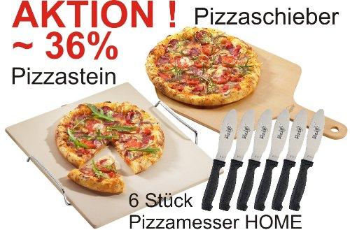 Pizzastein, Pizzaschieber und 6 Pizzamesser HOME im Vorteils-Set