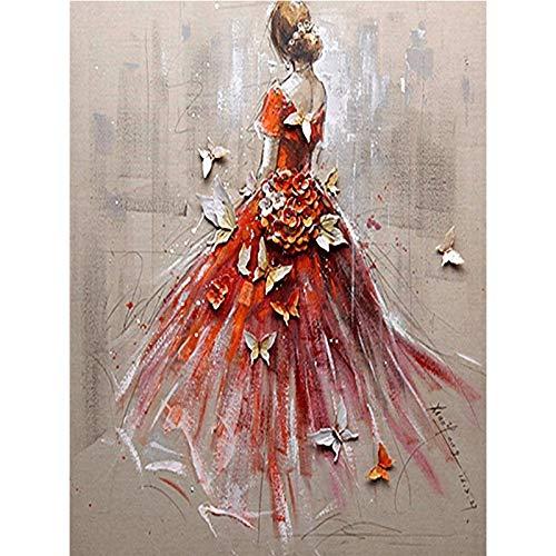 lpf Der Neue 5D Diamant DIY gemaltes Ölgemälde Blumen Schmetterling Stich schöne Brautkleid Malerei