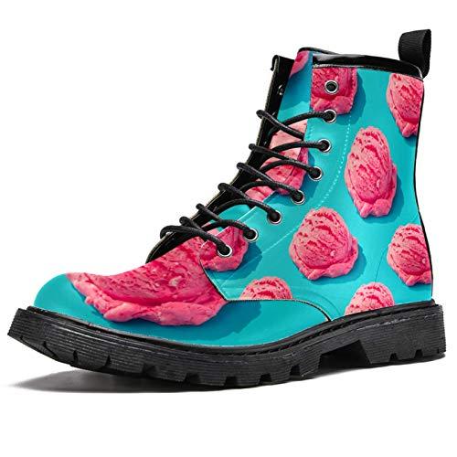BENNIGIRY Alcancía Rosa con Gafas de Sol Tumbona Playa Botas de caña Alta para Mujer Zapatos clásicos de Invierno Zapatos de Cuero Casuales