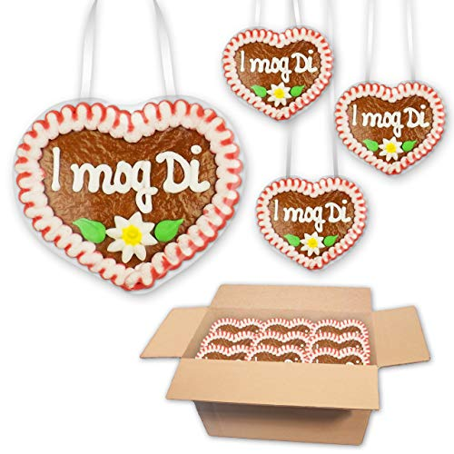 30x Lebkuchenherzen I mog Di - 8x8cm - der bayrische Liebesbeweis zum verschenken oder vernaschen, mit dem Mini Herzl finden Sie auf jeden Fall die richtigen Worte