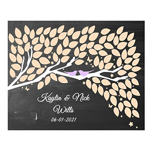 guestbook tree Alternative Wedding Cherry blossom guest book Print for signatures wooden birch tree rustic theme