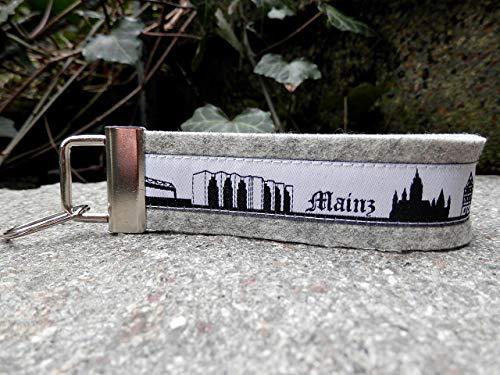 Schlüsselanhänger Schlüsselband hellgrau Webband Mainz Skyline schwarz weiß Geschenk Ostern!
