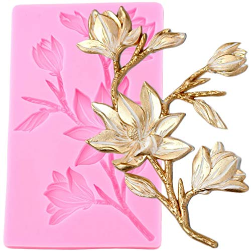 FGHHT Magnolia Flower Silicone Molds DIY Wedding Cake Border Fondant Mold Cake Decorating Tools Candy Clay Chocolate Moulds
