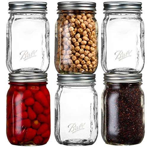 Ball Smooth-Sided Glass Regular Mouth Mason Jars 16 oz Bundle with Non Slip Jar Opener- Set of 6 16 Ounce Size Glass Smooth-Sided Regular Mouth Mason Jars - Canning Glass Jars with Lids