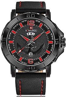 Naviforce NF9122 Men's Watch Leather Strap Calendar Display Male Quartz Watch - Red