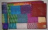 Tribal Asian Textiles Colcha Kantha Kantha de seda de la Patola india, colcha doble (Multi Patchwork)
