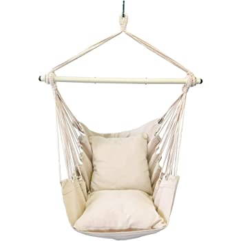Amazon Com Bormart Hanging Rope Hammock Chair Large Cotton Weave Porch Swing Seat Comfortable And Durable Hanging Chair For Yard Bedroom Porch Indoor Outdoor 2 Seat Cushions Included White Garden Outdoor