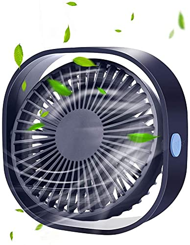 Ankon Fan de Dormitorio Mini USB Ventilador de enfriamiento portátil del Ventilador, Ventilador de Escritorio sin Ruido con Velocidad Ajustable de 180 Grados, USB Ventilador de Escritorio 5 Cuchillas