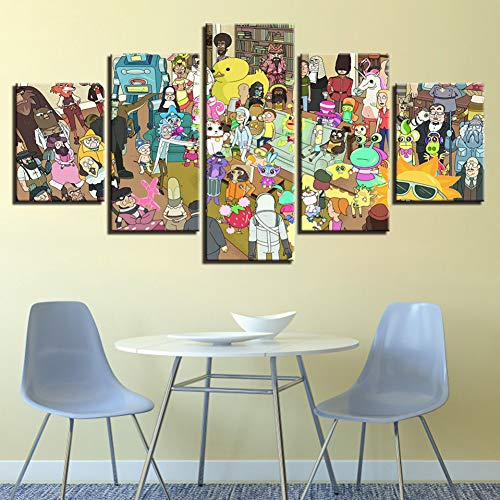 WFUBY Five painting Canvas HD Prints Posters For Living Roomwork 5 Pieces Rick And Morty Paintings Modern Characters Pictures Wall Art(No Frame)-40x60x2 40x80x2 40x100cm