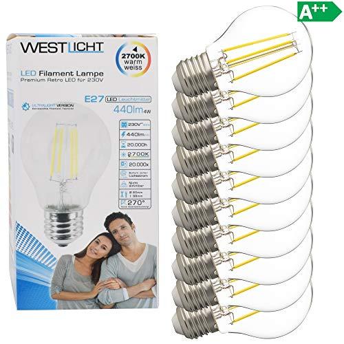 10x Westlicht E27 LED Lampe 4W Ersetzt 35W 440 Lumen Glühbirne A60 Leuchtmittel 2700 Kelvin warmweiß Fassung