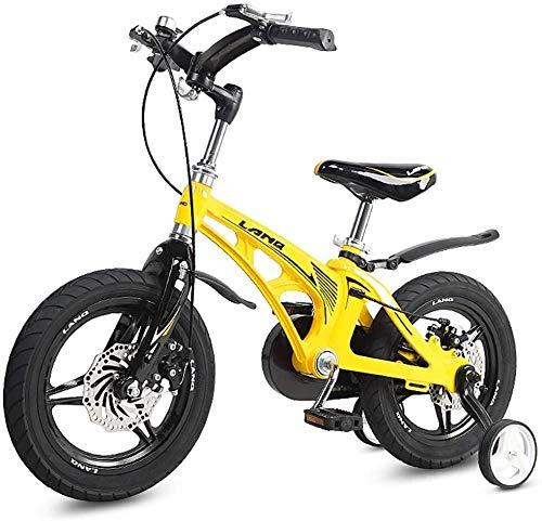 LAMTON Musicales for niños Bicicleta Niña Mujer 2-10 años del niño Cochecito de niño de la Bicicleta Fuera de la Bicicleta del Montar Bicicletas Plegables (Color : Yellow)