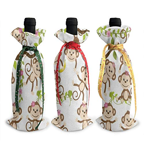 Christmas Wine Bottle Decoration Bag For New Year Wedding Wine Tasting Party Dinner Decor Holiday Ornaments 3pcs Wine Bottle Cover Bags,Xmas Gift Funny Monkey On Tree With Banana