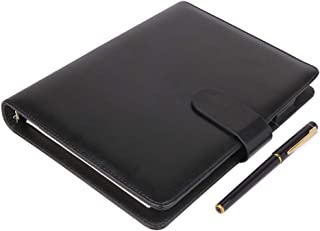 A5 Leather Notebook - Refillable Loose Leaf Business Notebook/Notepad, Meeting Notebook, Ruled/Classic Lined with Pocket&Pen Holder, 100 Sheets of 100gsm Paper (Black-A5)