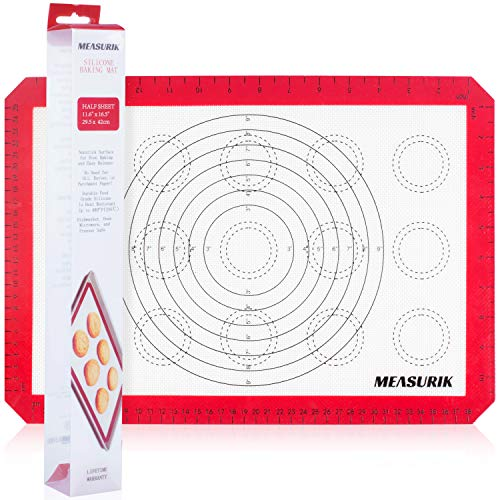 Measurik Silicone Non-Stick Baking Mat - Single Macaron Half Size Baking Mat 11 5/8''(W)16.5''(L) Red Colour Reuseable Food Grade Cooking Mat with Measurement