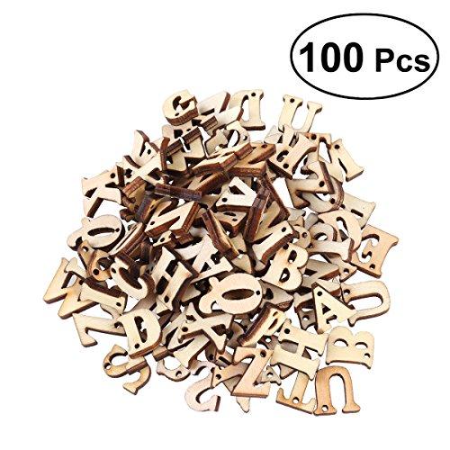 ROSENICE 100Holz Alphabet Buchstaben unlackiert Holz Einbauöffnungen Craft Scheiben mit Löchern