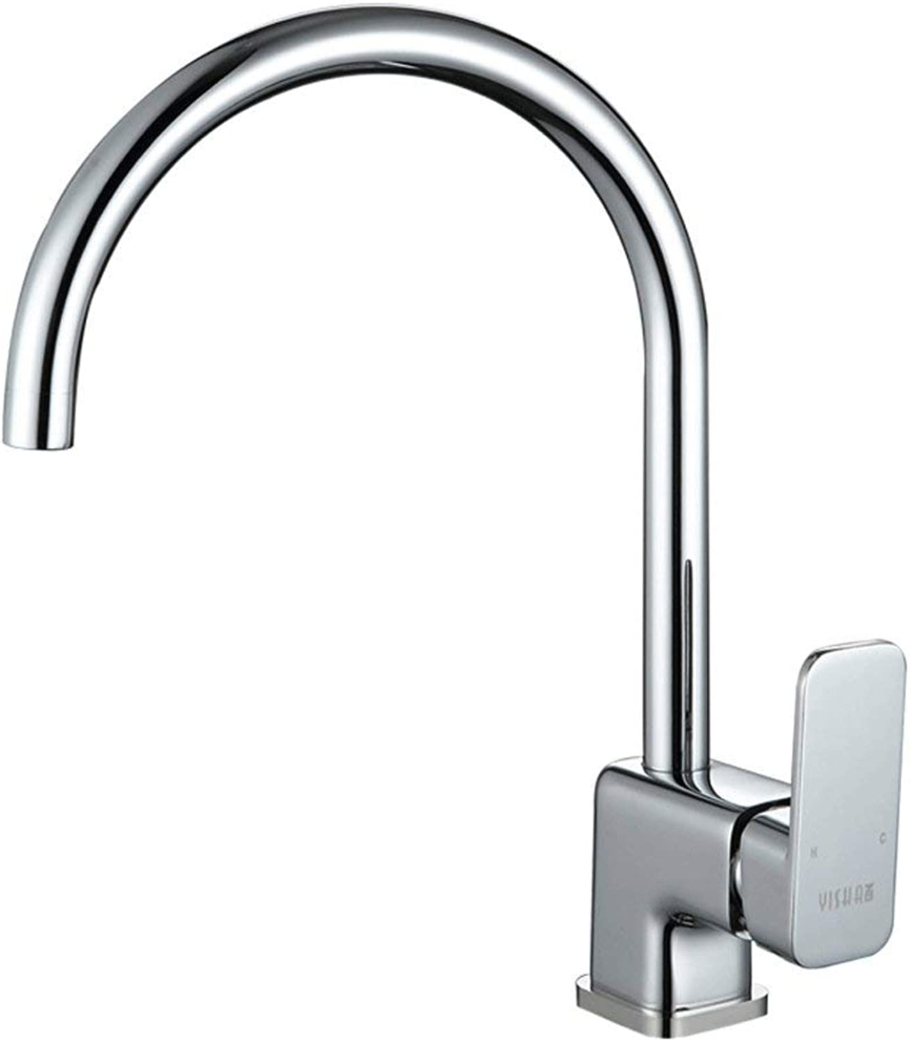 DYR Faucet Copper Kitchen Hot and Cold Water Faucet Spleen Faucet Single Handle Single Hole Square redatable Tap