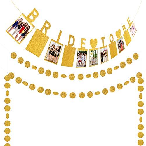 KATOOM Bride to be Party Foto Telaio Banner Oro Decorazione Romantica +4 PCS Striscia Decorativa Rotonda Oro per Un Addio al Nubilato è Il Kit Perfetto
