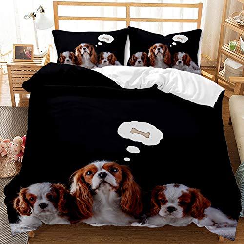 QIAOJIN Juego de ropa de cama 3D de gatos y perros, 100% microfibra, estampado de animales en 3D, bonita funda nórdica y funda de almohada con cremallera, para niños y niñas (f,260 x 220)