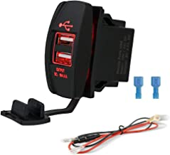 4.8A Dual USB Port Socket Charger Rocker Style, Waterproof 2.4A Fast Charge Mount, 12V/24V Marine Boat Motorcycle SUV Bus Truck Yacht Rocker Switch Panel(4.8A Red Square USB Charger)