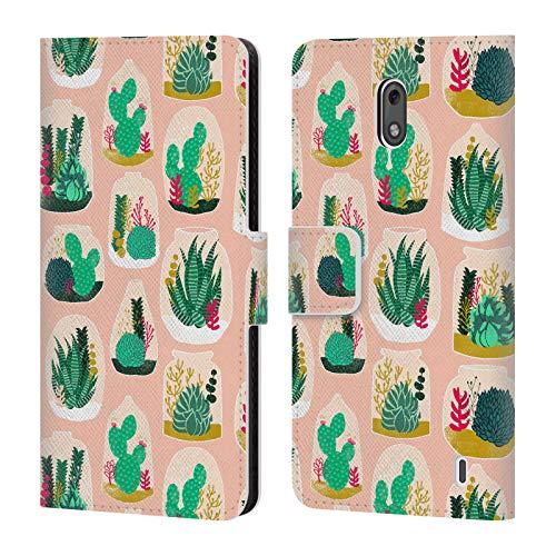 Official Andrea Lauren Design Terrarium Plant Pattern Leather Book Wallet Case Cover Compatible For Nokia 2