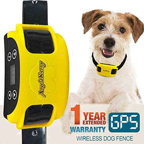 AngelaKerry Wireless Dog Fence System with GPS, Outdoor Pet Containment System Rechargeable...