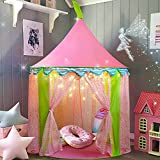 """Carpa para niños + Luces de una Estrella Castillo de Princesa para niñas- Glitter Castle Pop Up Play Carpa Tote Bag - Niños Playhouse Toy para Juegos de Interior y Exterior 41 """"X 55"""" (DxH)"""