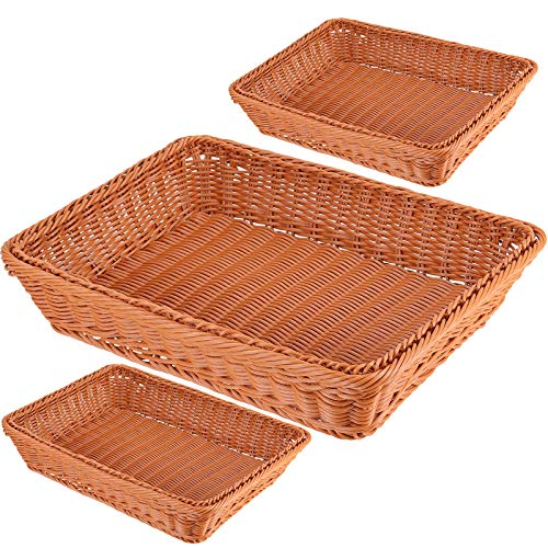 3 Packs 12 Inch Poly Wicker Bread Baskets, HAKZEON Wicker Woven Basket Fruit Vegetable Basket Food Serving Storage Tabletop Display for Home Kitchen Restaurant