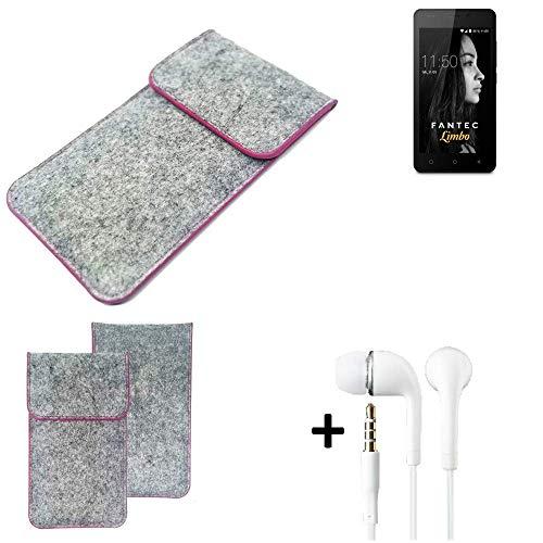 K-S-Trade Filz Schutz Hülle Für FANTEC Limbo Schutzhülle Filztasche Pouch Tasche Hülle Sleeve Handyhülle Filzhülle Hellgrau Pinker Rand + Kopfhörer